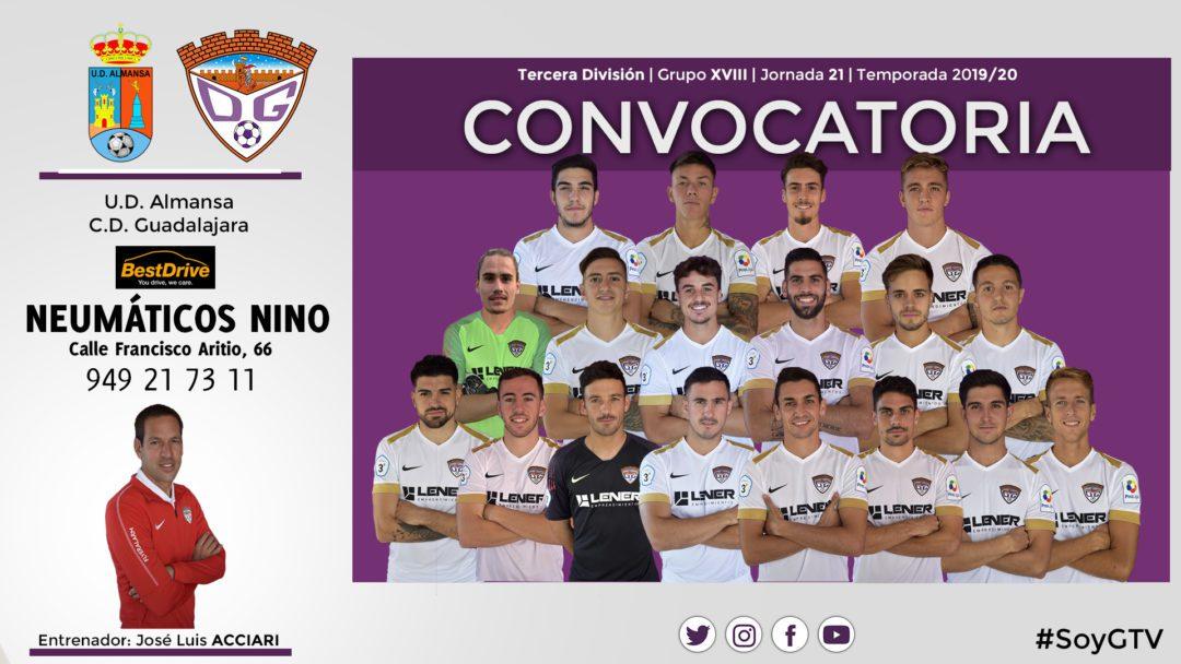 Convocatoria del C.D. Guadalajara para el partido ante la U.D. Almansa