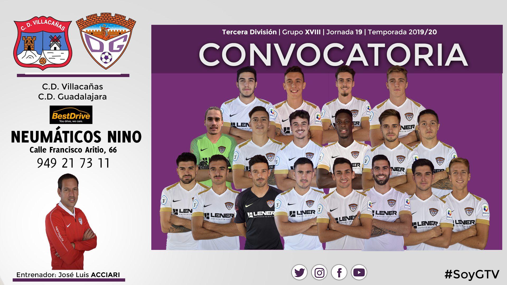 Convocatoria del C.D. Guadalajara para el partido ante el C.D. Villacañas