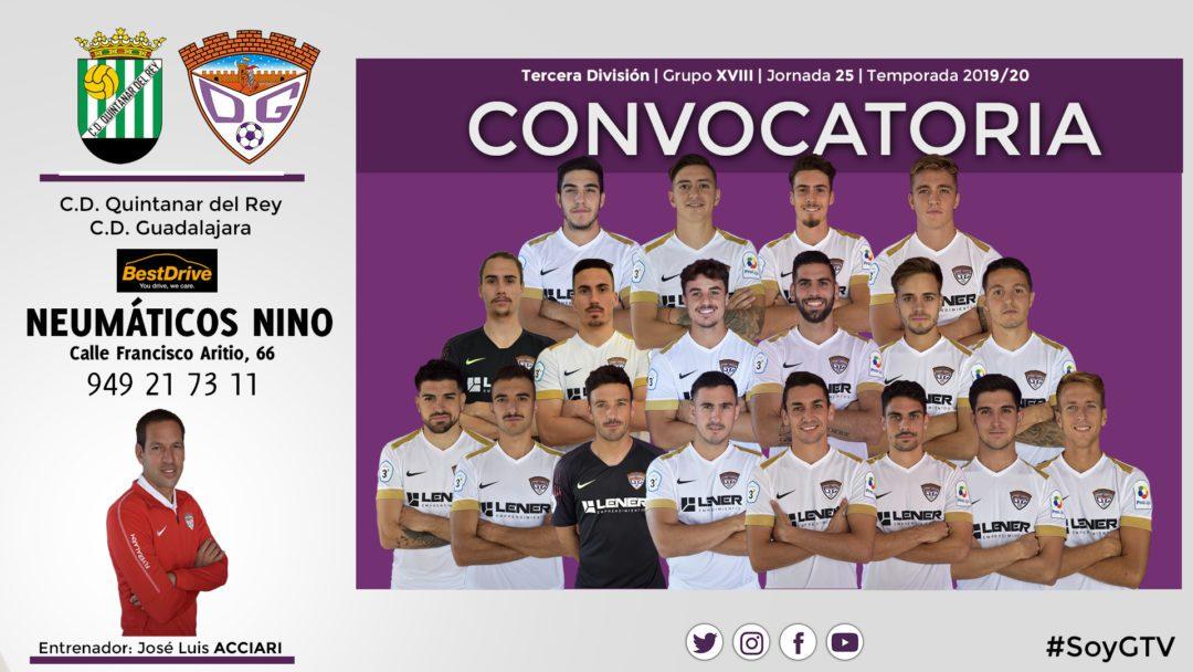 Convocatoria del Club Deportivo Guadalajara para el partido ante el C.D. Quintanar