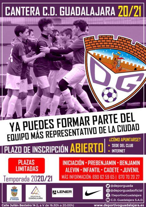 Abierto el plazo de inscripción para formar parte de la cantera del C.D. Guadalajara 2020/21
