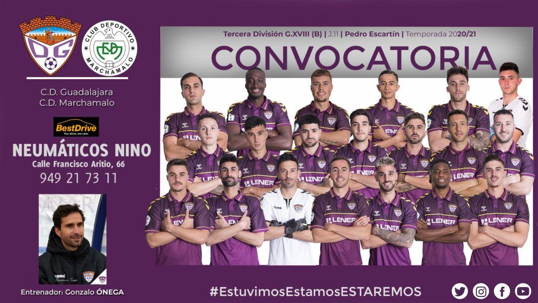 Convocatoria del C.D. Guadalajara para el partido contra el C.D. Marchamalo