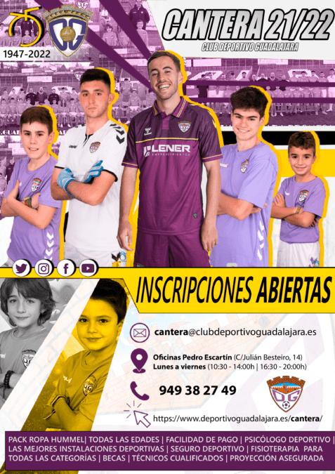 Abierto el plazo de inscripción para formar parte de la cantera del C.D. Guadalajara 2021/22